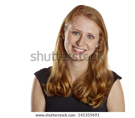 Beautiful Young Red Haired Smiling Woman  - stock photo