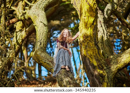 Beautiful young romantic girl sitting on the tree trunk in Presidio park in San Francisco, California, USA