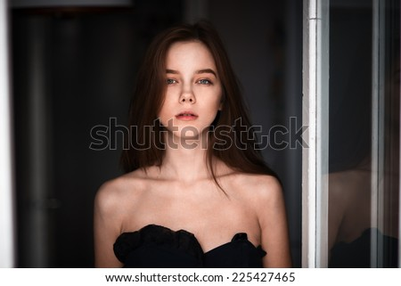 beautiful young sexy woman - stock photo