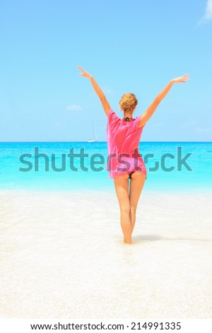 Beautiful young sexy woman by the sea in Zakynthos Greece - stock photo