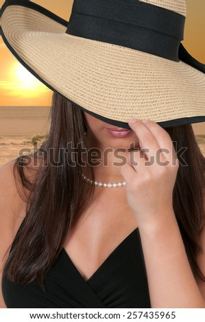 Beautiful young sexy woman wearing a floppy hat - stock photo