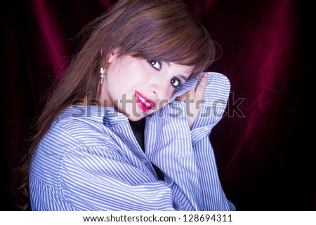 beautiful young sleepy woman with a mans shirt - stock photo