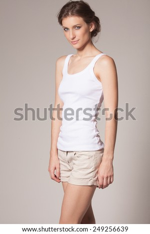 Beautiful young slim model  - stock photo