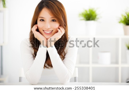 beautiful young smiling asian woman  - stock photo
