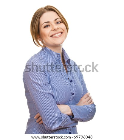 Beautiful  young, smiling businesswoman  with her hands folded against white background - stock photo