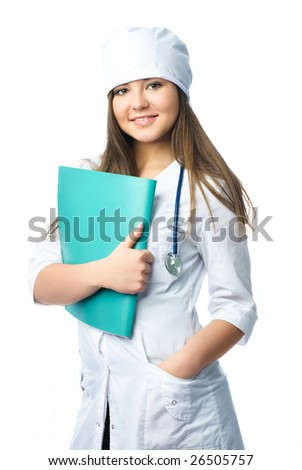 beautiful young smiling doctor wearing white uniform with a stethoscope and a green folder - stock photo