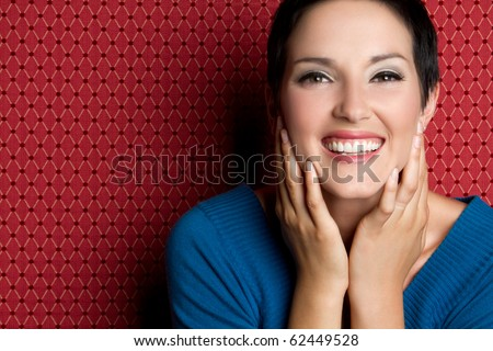 Beautiful young smiling laughing woman - stock photo
