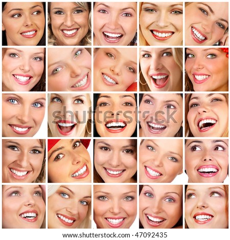 Beautiful young smiling woman face. Close up - stock photo