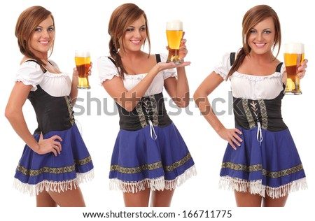 Beautiful young smiling woman giving beer - stock photo