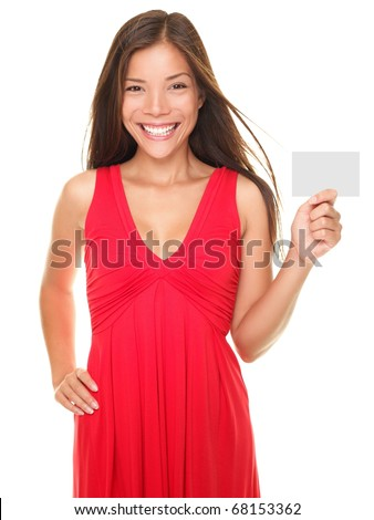 Beautiful young smiling woman holding blank empty sign card or valentines day card with copyspace. American portrait of Asian Caucasian model isolated on white background.