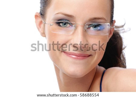 Beautiful young smiling woman in glasses, on white background. - stock photo