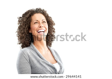 Beautiful young smiling woman. Isolated over white  background