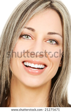 Beautiful young smiling woman. Over white  background