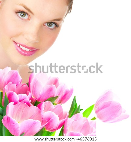 Beautiful young smiling woman with flower.  Isolated over white  background