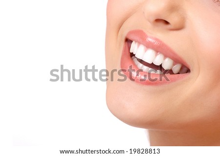 Beautiful young smiling woman with great teeth. Isolated over white  background - stock photo