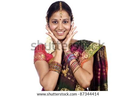 Beautiful young surprised indian woman - stock photo