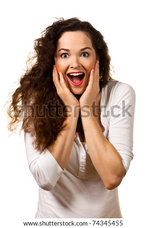 Beautiful young surprised woman looking at camera. Isolated over white. - stock photo