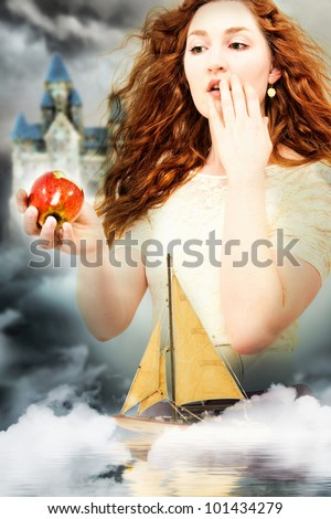 Beautiful Young Woman Actress Playing Snow White in a Fantasy Poster Style Portrait - stock photo
