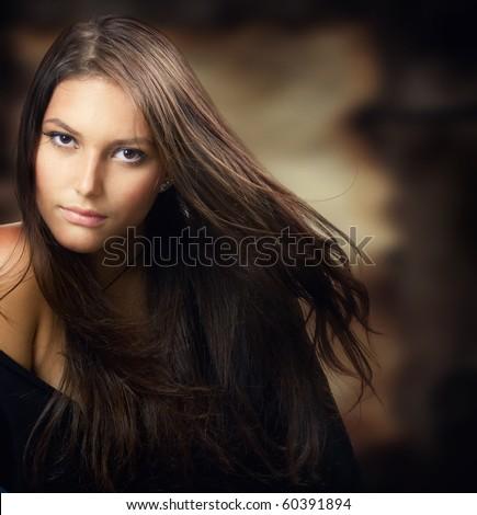 Beautiful Young Woman.Amazing Brunette - stock photo