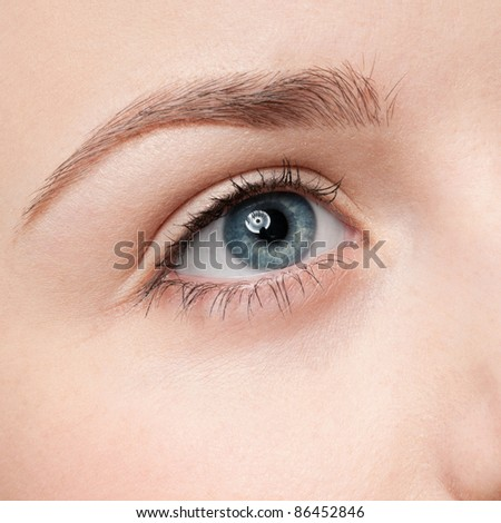 Beautiful young woman applying cosmetic paint brush - close-up portrait of eye shadow zone