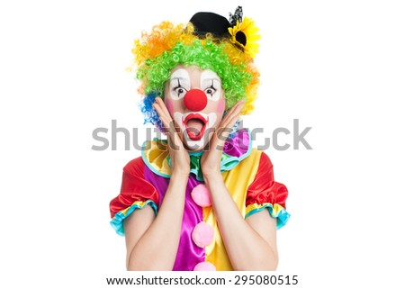 Beautiful young woman as funny clown - colorful portrait