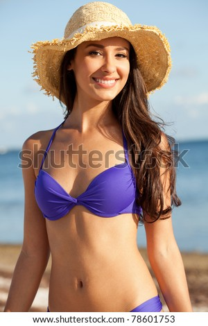 Beautiful young woman at the beach in Miami - stock photo