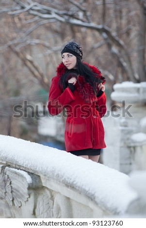 Beautiful young woman at winter. Young beautiful brunette in red standing in the winter park looking away - stock photo