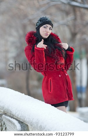 Beautiful young woman at winter. Young beautiful brunette in red standing in the winter park looking at camera - stock photo