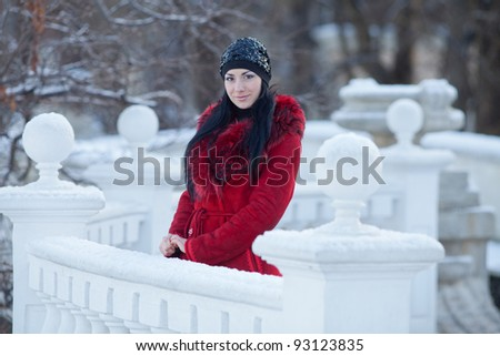Beautiful young woman at winter. Young beautiful woman standing in the park, wearing hat, winter time - stock photo