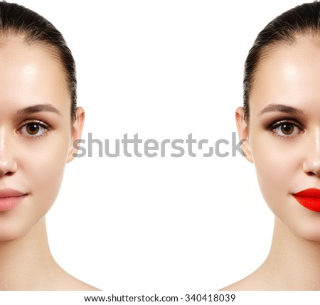 Beautiful young woman before and after make-up applying. Comparison portrait. Two parts of model face with and without makeup. Two parts of face, with bright make up and natural - stock photo