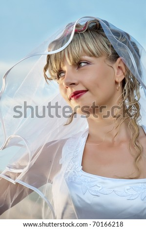 beautiful  young woman bride portrait - stock photo