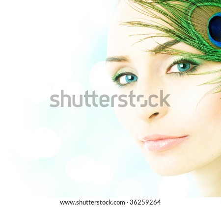 Beautiful Young Woman closeup - stock photo