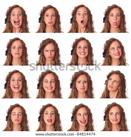 Beautiful Young Woman Collection of Expression - stock photo