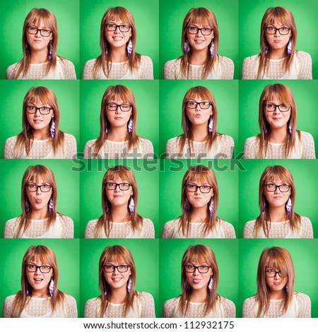 Beautiful Young Woman Collection of Expressions on Green - stock photo