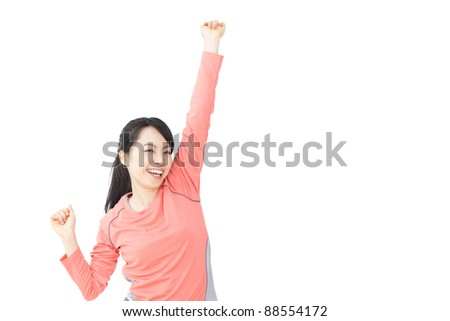 Beautiful young woman doing exercise isolated over white background - stock photo