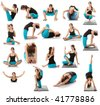 Beautiful young woman doing yoga exercise , isolated - stock photo