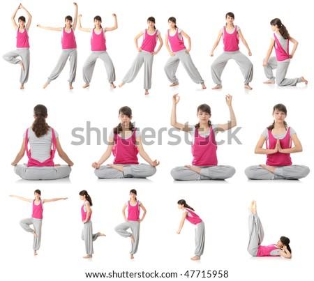 Beautiful young woman doing yoga exercise , isolated - stock photo