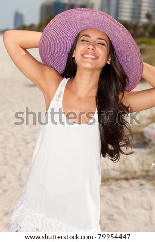 Beautiful young woman enjoying South Beach in Miami. - stock photo