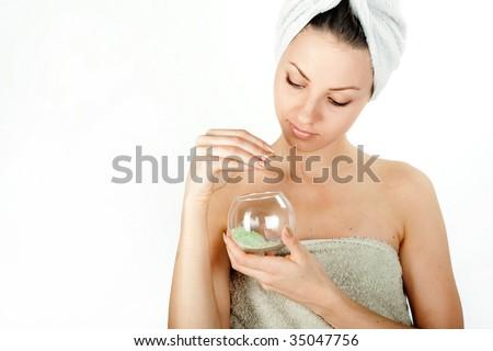 Beautiful young woman enjoying spa on white background - stock photo