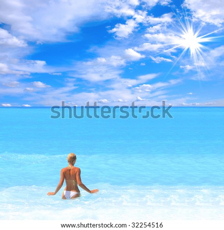Beautiful young woman enjoying the Ionian sea in Greece - stock photo