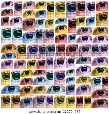 Beautiful young woman eye collage background. Optometry. - stock photo