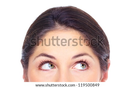 Beautiful young woman eyes portrait close-up. Isolated on white background.