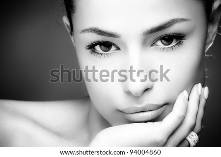 beautiful young woman face, close up, black and white - stock photo