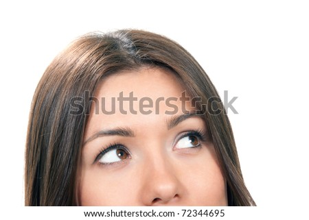 Beautiful young woman face close-up composition. Female thinking and looking up at the corner isolated on a white background - stock photo