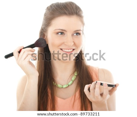 Beautiful Young Woman Face.Make-up concept - stock photo