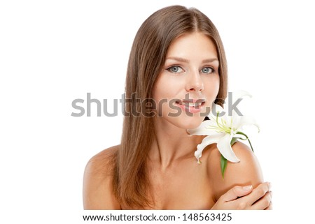 Beautiful young woman face portrait, white background