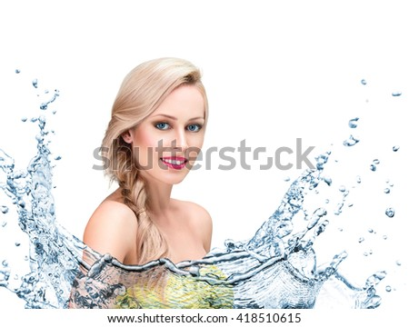 Beautiful young woman face with clean water splash isolated on white background - stock photo