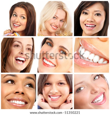 Beautiful young woman faces. Smiles and teeth - stock photo