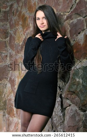 beautiful young woman.fashion makeove, groomed skin. good hairstyle - stock photo