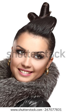 beautiful young woman.fashion makeove, groomed skin. good hairstyle.beautiful young woman. art of makeup. - stock photo